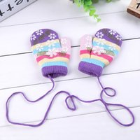Wholesale colorful cotton gloves - Wholesale- New Kids Autumn Winter Lanyard Gloves Unisex Colorful Snowflake Pattern Halter Pack Gloves Children's Mittens Accessories R320