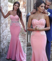 Wholesale Sweetheart Beaded Trumpet Prom Dress - Pink Mermaid 2016 Arabic Evening Dresses Sweetheart Beaded Crystals Satin Prom Dresses Sexy Cheap Formal Party Gowns