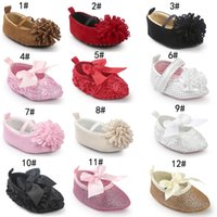 Wholesale baby rose soft sole shoes for sale - Group buy 14 Styles Baby First Walker Shoes Spring Autumn Baby Fashion Rose Flower Bow Princess Soft Sole Moccasin Flat Pointed Shoes Fee EMS