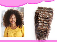 Wholesale Hot sale Clip in Hair Extensions unprocessed Brazilian Curly Human hair Extension g Cheap Light Brown color
