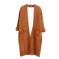 Wholesale Vintage Cardigans For Women - Wholesale- Mohair Long Thick Cardigan Top Sweaters For Women Pocket Loose Autumn Winter New Vintage Cardigans Warm Twised Outwear Coat