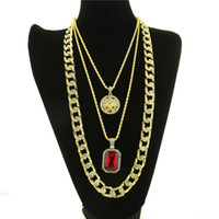 Hiphop Jewelries Sets 18K Gold-plate Gem Pendant Colares Para Homens Luxurious Party Gift Moda Neck Accessories Wholesale Free Shipping