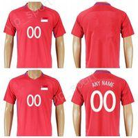 Wholesale football tshirt - 2018 Soccer Singapore Jersey 2017 Make Customized National Team Thai Football Shirt Uniform Kits Foot Tshirt Quality Red Color