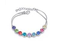 Wholesale Indian Free Channels - Fashion Jewelry Lady Austria Crystal Bracelet Fashion Bangle Platimun Plated Make With Swarovski Elements FREE SHIPPING 4 Colors