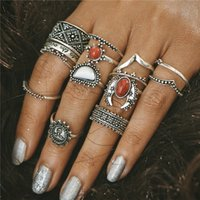 14pcs / Set Silver Color Moon et Sun Midi Ensembles d'anneaux féminins pour femmes 2017 Fashion Vintage Red Big Stone Knuckle Rings Gift