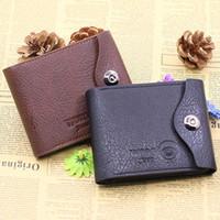 Wholesale Clasp Clutch Wholesale - Wholesale- 2016 Men Fashion Magnetic Clasp Faux Leather Wallet Card Pockets Slim Purse Bifold Wallet Carteira 9IHH