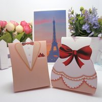 Wholesale Wholesale Grooming Bag - Wed Candy Box Bride And Groom Pink Wedding Dress Creative Personality European Paper Bag Wedding Celebration Paper Gift Box
