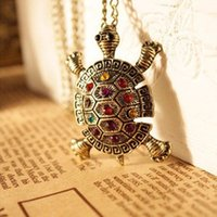 Wholesale New China Sweaters - 2016 New Fashion Turtle Pendant Necklace Wholesale European American Vintage Cute Sweater Tortoise Necklaces Jewelry For Women