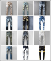 Wholesale Pants Fashion Stretch Trousers - Distressed France Fashion Pierre Straight Jeans Men's Biker Jeans Hole Stretch Denim Casual Jean Men Skinny Pants Elasticity Ripped Trousers