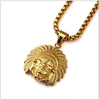 Wholesale Indian Head Charms - 18K Gold Plated Titanium Steel American Indian Chief Head necklaces Men Women Charm Chains Gothic Indians Jewelry Gifts pendants