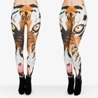 Wholesale Ladies Tiger Leggings - Women Leggings Tiger 3D Graphic Print Girl Skinny Stretchy Runner Yoga Wear Pants Gym Fitness Pencil Fit Lady Capris Soft Trousers (J29746)
