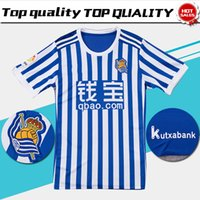 Wholesale Blue White Sleeves - Real Sociedad Home Soccer Jersey 17 18 Real Sociedad short sleeve soccer shirt 2018 blue white Football uniforms Sales