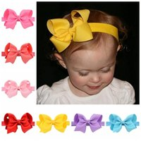 Wholesale Infant Tiara Headbands - 20 Color Infant Girls Headband Elastic Bands Ribbon Bows Tiara Baby Headbands Hair Accessories 20pcs lot