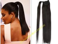 Wholesale long fake ponytail for sale - Long silky straight b virgin brazilian human hair drawstring fake ponytail hairpiece for black women inch g g