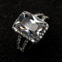 ingrosso anello solitario impostazione oro bianco-Taglia 5-9 Nuovi monili di modo delle donne choucong 10KT Whitre Gold Filled Solitaire 8CT Bianco Topaz CZ Diamond Princess Lady Wedding Band Ring Set