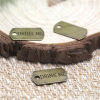 Wholesale drinking charms - 30pcs- Drink Me Charms, Antique bronze tone alice in wonderland Charms pendants 10x18 mm