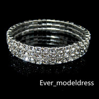 Wholesale Evening Dresses Low Prices - 3 Row Rhinestone Bangle Wedding Bracelets Bridal Jewelry Cheap Bracelet for Wedding Party Evening Prom Dress hot sale low price
