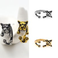 pcs men ring gold 2018 - 10 Pcs Unisex Handmade Pug Dog Rings Fashion Jewelry Animals Rings For Women Men Vintage Gold Silver Plated Open Ring