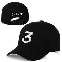 Wholesale Black Hat Fashion - Popular Singer Chance The Rapper 3 Chance Cap Black Letter Embroidery 3D Baseball Cap Hip Hop Streetwear Snapback Hats