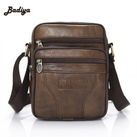 Wholesale News Fashion Designers - Wholesale- 2016 News Genuine Cowhide Leather Men's Bag Brand Designer Brown Shoulder Handbags Vintage Male Men Messenger Bags