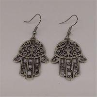 Wholesale Ali Jewelry - Women Girl fashion Cheap brand silver hollow Hamsa hand alloy dangle earrings pendientes brincos cc ali express jewelry MY-105