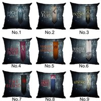 Wholesale Room Chair Covers - Students Game of Thrones Throw Pillow Case 45*45cm Cover for Chair Sofa CarLiving Room Home Decoration Family Emblem Linen Cushion Cases