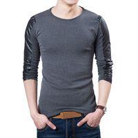 Wholesale Korean Slim Fit Shirts Brand - Hot 2016 New Spring Fashion Brand O-Neck Slim Fit Long Sleeve T Shirt Men Trend Casual Men T-Shirt Korean T Shirts MC101