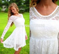 Wholesale Round Neck Long Sleeve Mini - Hot Sale Round Jewel Neck Crystal Sparkly Beaded Beautiful Lace Mini Short A Line Long Sleeves White Homecoming Dresses 2017 Gowns