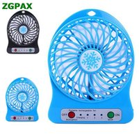 Wholesale Battery Operated Mini Fans - Wholesale- Wholesale Portable Rechargeable LED Fan air Cooler Mini Operated Desk USB 18650 Battery U0314