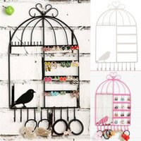 Wholesale Earing Stands - Black Pink White Jewelry Organizer Earing Holder Necklace Hanger Stand Birdcage Jewelry Display Rack for Girls