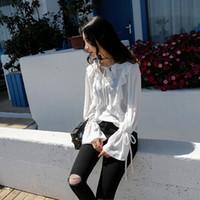 Wholesale Korean Ladies Chiffon Ruffle Blouse - 2017 summer tops basic classic vintage korean fashion elegant ladies shirt bow long sleeve white tunic ruffle chiffon blouse women blouses