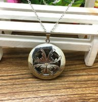 Wholesale Lockets Fragrance - Vintage Silver Bronze Round Perfume Fragrance Essential Oil Aromatherapy Diffuser Choker Lockets Necklaces Pendants For Women Accessories Q1