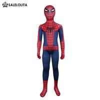 костюм-паук всего тела оптовых-Детский Костюм Человека-Паука Детский Красный И Синий Человек-Паук Костюм Всего Тела Детский Супергерой Лайкра Спандекс Боди Топ Qulaity