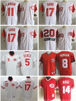 Wholesale Bench Shirts - Cincinnati Reds baseball jersey #17 Chris Sabo 5 Johnny Bench 14 Pete Rose 20 Frank Robinson cool Base Jersey embroidery throwback shirt