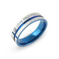 Wholesale Couples Blue Stainless Steel Rings - Stainless Steel Wedding Bands blue Couple Rings Korean Jewelry Lovers, his and hers promise ring sets men and women