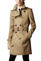 slim fitting mens trench coat venda por atacado-Nova Moda Mens Longo Casacos de Inverno Slim Fit Homens Casaco Trench Casuais Mens Double Breasted Trench Coat UK Estilo Outwear