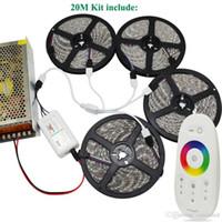 ingrosso 15m regolatore di striscia principale rgb-DC12V SMD 5050 RGB Led Strip 60led / m Nastro flessibile 5M 10M 15M 20M + Telecomando RF Touch + Alimentatore