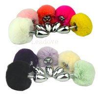 Wholesale Sex Bunny Tail - Small Size Metal Rabbit Tail Anal Plug bunny 10 Color Butt Plug Metal Booty Beads Stainless Sex products