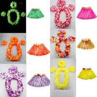 Wholesale Hula Dance - 2017 New 40cm Length Woman Hawaiian Garland Wreath Leis Necklace Lei Grass Dance Beach Party Flower Hula Fancy Dress Wedding Decoration