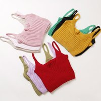 Wholesale Multi Color Knit Vest - Wholesale-fashion spring autumn women sexy knitted Camisole Bras short vest brassiere female Tape Solid color clothing Wrap chest sweater