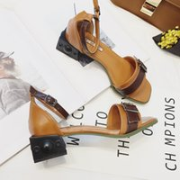 Wholesale Brown Women Shoes Sandals - Sandals fashion design kitten heel buckle decoration color matching square toes summer women shoes free shipping YonDream-344