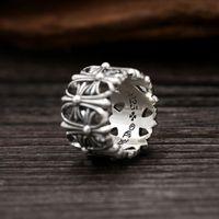 geschenke machen für männer großhandel-Luxus brandneue 925 Sterling Silber Schmuck Antik Silber handgefertigte Designer dicke Ringe für Männer und Frauen Kreuz Band Ringe Geschenke heiß