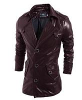 bestellen bekleidung großhandel-HEIßER verkauf Leder windjacke PU Jacken hoodie kleidung männer Oberbekleidung patchwork Winter parka Mäntel Herrenbekleidung Bekleidung mischungsauftrag