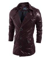 commander des vêtements achat en gros de-HOT vente Coupe-vent en cuir PU Vestes à capuche vêtements hommes Survêtement patchwork Hiver parka Manteaux Vêtements pour hommes Vêtements Ordre du mélange