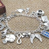 Wholesale Police Key Chain - 12pcs Doctor Who inspired bracelet Planet Key Teacup Police box Bow tie Wolf Infinity charm bracelet