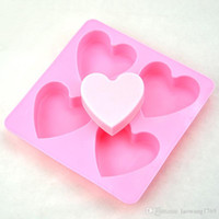 Wholesale Hearts Soap Mold - DIY Heart Silicone Fondant Mold Cake Decorating Chocolate Baking Soap Ice Mould Tool ZH01048