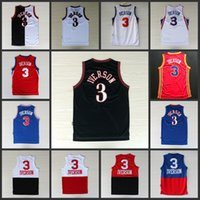 Wholesale Iverson Jerseys - #3 allen Iverson black white blue answer Split jersey 10th anniversary jersey throwback Soul Swingman Jersey Basketball Jerse