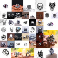 Wholesale Massive Jewelry - Massive Gothic Skull Sculpture Bicycle Mixed Style Many Men Anti - Silver Ring New Jewelry R0079 Restoring Ancient Ways - Randomly Send