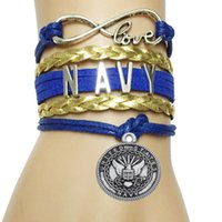 Vente en gros-Drop Livraison Infinity Love Navy Bracelet - Custom Symbol Charm US Depense Department Career Bracelet