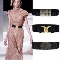 geniş bel elastik kemer kadınlar toptan satış-Kadın elastik kemer stil elastik kemer cc düğme geniş bel mühür ile bayan elbise ile